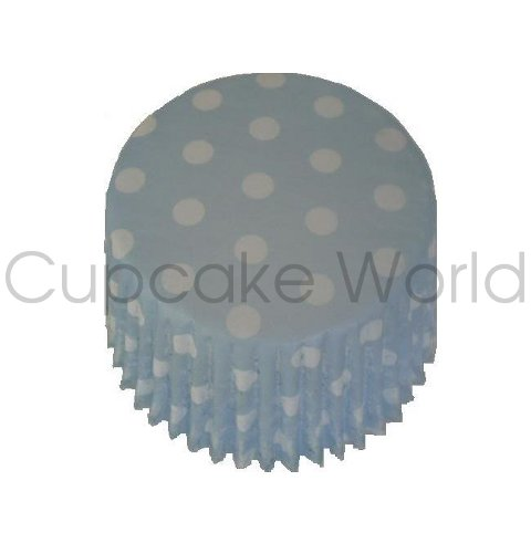 BLUE POLKA DOTS PAPER MUFFIN CUPCAKE CASES PETIT 50PCS
